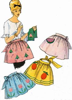 1950s One Yard Hostess APRON Simplicity 4180 Vintage 50s Sewing Pattern One Size by sandritocat on Etsy