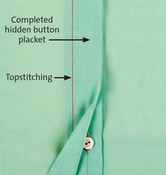 """How to Make a Hidden Button Placket - Threads Magazine Article by Susan Khalje] This placket is subtle, simple, and easy to make. A hidden button placket can be used on a variety of garments. It may be placed anywhere on a garment's front, including off-center. Featured in """"Fastenings Go Undercover"""", Threads #168, Susan Khalje shows how to create a perfectly hidden button placket in this tutorial."""