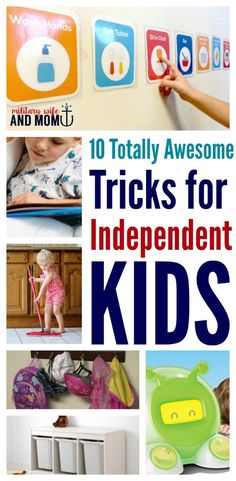 LOVE these tricks for independent kids...help build work ethic, responsibility and independent in your kids. So many great tools here.