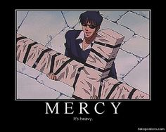 """Wolfwood from Trigun.  """"It's so heavy because it's full of Mercy."""""""