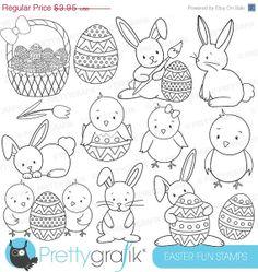 40 OFF SALE easter bunny digital stamp by Prettygrafikdesign, #line art #colouring