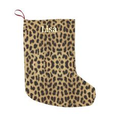 Personalized Leopard Print Christmas Stocking Small Christmas Stocking http://www.zazzle.com/personalized_leopard_print_christmas_stocking_manualwwstocking-256427443868669977?rf=238271513374472230  #christmas  #christmasstockings  #stockings