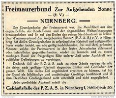 Original-Werbung/ Anzeige 1913 - FREIMAURER BUND ZUR AUFGEHENDEN SONNE (FZAS)  NÜRNBERG ca. 90 x 70 mm