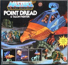 The box for the Masters of the Universe Point Dread & Talon Fighter (including vinyl record) Retro Toys, Vintage Toys, 1980s Toys, Gi Joe, He Man Figures, Best 90s Cartoons, Old School Toys, She Ra Princess Of Power, Universe Art