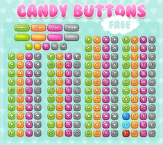 Set of button with candy theme, for any kind of games. Especially casual, puzzle, match three, kids, or girl games. #2d #game #assets #button #ui #candy #cute