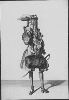 Gentleman snuffing, 1694. Note the large plume called panache or garniture worn from the middle of the hat along the brim towards the right back. Cravat worn à la Chaconne, the revers of the justaucorps is, very unusual, turned back and all the way down the front buttoned back, stockings embroidered at the ankles. French