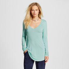 Women's Long Sleeve V-Neck Tee Blue Xxl - Mossimo