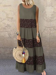 Vintage Floral Patchwork Sleeveless Plus Size Dress for Women Plus Size Vintage Dresses, Plus Size Dresses, Casual Dresses, Fashion Dresses, Mode Outfits, Plus Size Fashion, Lace Skirt, Womens Fashion, 70s Fashion