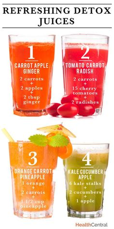 Refreshing Detox Juice Recipes (#INFOGRAPHIC): Trying to snack a little healthier and give your stomach a break? Try these super quick and easy #juice #recipes. Just combine the ingredients in a juicer and blend! http://www.healthcentral.com/diet-exercise/c/458275/169969/smoothie-infographic?ap=2012 Juicing Recipes For Detox, Pineapple Juicing Recipes, Juice Cleanse Recipes, Healthy Juicer Recipes, Easy Detox Cleanse, Breakfast Juicing Recipes, Nutribullet Juice Recipes, Yummy Juice Recipes, Tomato Juice Recipes