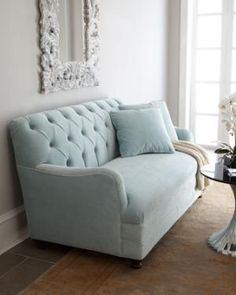 Haute House Marina Sofa At Horchow Second Floor Guest Lounge Carmel Morgan Light Blue