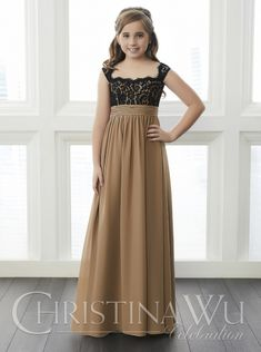 b27ec107 Christina Wu Celebrations 32649 Full-length A-line chiffon skirt with  gathered waistband. Lace bodice and cap sleeves.