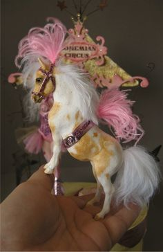 Bohemian Circus Pony Show (pony close up) - polymer clay sculpture by Nicole West