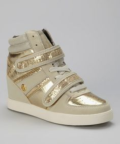 Loving this Sand & Gold Kitty Hi-Top Wedge Sneaker - Women baby phat