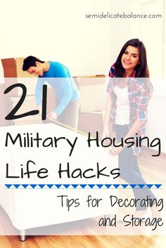 Military Housing has its perks but one of its pitfalls is that there's not a whole lot you can do for decorating or organizing, Here are some military housing hacks to help you along.