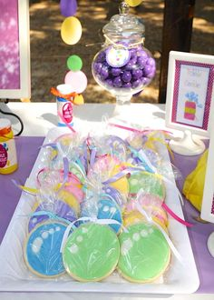 Colorful cookies at a bubble themed birthday party! See more party ideas at CatchMyParty.com!