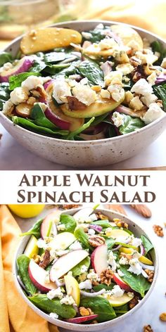 This Apple Walnut Spinach Salad with Balsamic Vinaigrette Dressing is a delicious winter salad recipe thats packed with healthy greens fruit nuts sweet onions sharp blue cheese and buttery goat cheese all topped with a sweet balsamic salad dressing Winter Salad Recipes, Best Salad Recipes, Vegetarian Recipes, Cooking Recipes, Raw Veggie Recipes, Clean Food Recipes, Healthy Recipes For One, Simple Healthy Recipes, Medeteranian Recipes