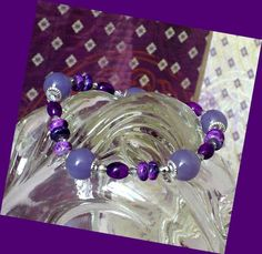 Purple Silver Stretch Bracelet // SRAJD #bestofEtsy #jewelry