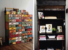 very cool way to color block paint and repurpose vintage library card catalog