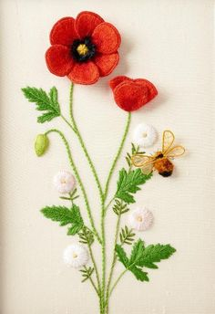 Poppies, Daisies, and Bee stumpwork dimensional embroidery by Celeste Chalasani
