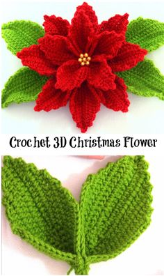Crochet a poinsettia for your holiday decor. #poinsettia #crochet