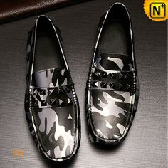 CWMALLS Mens Camo Leather Moccasins CW706167 Designer camo moccasins for men features studs decoration at front and comfortable leather lining and insole, hand sewn men's leather moccasins made from genuine calfskin leather with grey camo printed. www.cwmalls.com PayPal Available (Price: $147.89) Email:sales@cwmalls.com
