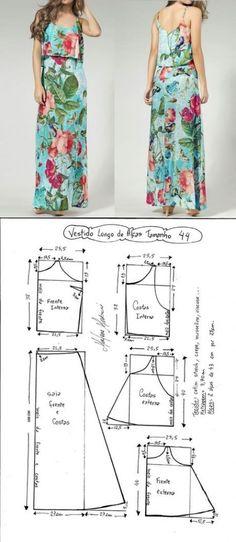 Long Dress Patterns Sewing Diy Ideas For 2019 Long Dress Patterns, Dress Sewing Patterns, Sewing Patterns Free, Clothing Patterns, Skirt Patterns, Blouse Patterns, Fashion Sewing, Diy Fashion, Ideias Fashion