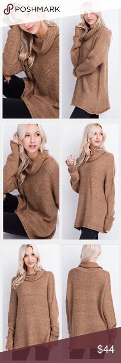2 LEFT Cozy Mocha Cowl Neck Sweater. S-M This Earth Toned Mocha Sweater is sure to look amazing with any fall collection. Long sleeves, cowl neck. Warm and cozy.  Available in S-M Pairs nicely with the fall leggings. 🍁🍂 Sweaters Cowl & Turtlenecks