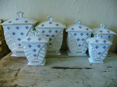 french antique dinnerware sets   French China Rose Vintage Canister Set