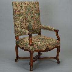 "French 19th Century Bergere Covered In Old World-Style Tapestry Fabric --- Generously sized French armchair has beautiful carved details and is newly upholstered in traditional, old-world style tapestry fabric. ---   Arm Height:  27"" ---  Seat Height:  19"" ---  Inside Seat Depth:  21"" ---  Item: 414 --- Retail Price: $2895"