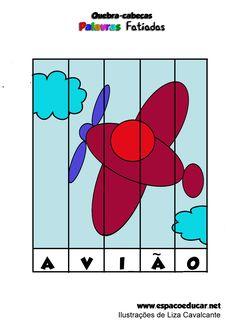Atividade para alfabetização: jogo educativo quebra-cabeças palavras fatiadas…