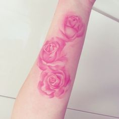 Pink watercolor roses by Jemka. Feminine Tattoos, Girly Tattoos, Body Art Tattoos, Hand Tattoos, Tatoos, Watercolor Rose Tattoos, Pink Rose Tattoos, Flower Tattoos, Pink Watercolor