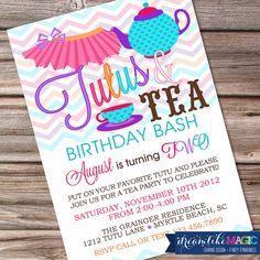Printable Party Invitation Tutus and Tea Bash
