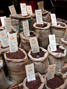coffee beans being sold in Paris flea market...