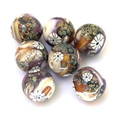 Pebbles  OrganicStyle Lampwork Glass Bead Set in by sarahhornik