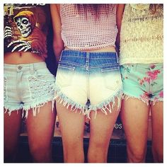 High wasted shorts + crop tops