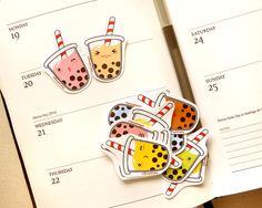 Sweet Delicious Tapioca Bubble Tea Sticker by BeagleCakesArt