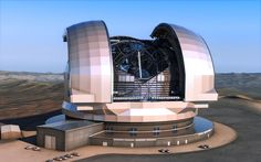 """This artist's impression shows the European Extremely Large Telescope (E-ELT) in its enclosure. The E-ELT will be a 39-metre aperture optical and infrared telescope sited on Cerro Armazones in the Chilean Atacama Desert, 20 kilometres from ESO's Very Large Telescope on Cerro Paranal. It will be the world's largest """"eye on the sky""""."""