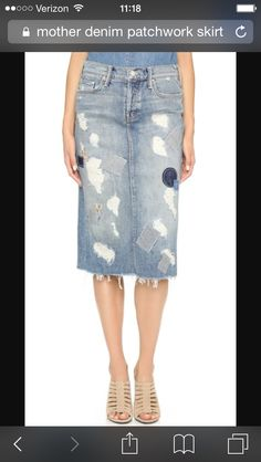 Mother denim patchwork skirt