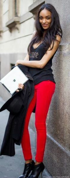 red pants and black tank