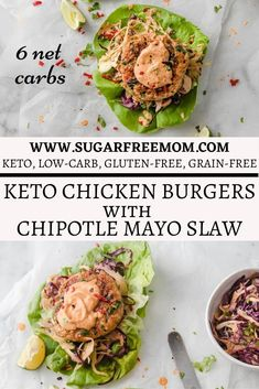 These easy keto chicken burgers served with chipotle mayo slaw will satisfy that burger need without the need for a bun! | Sugar Free Mom Low Carb Dinner Recipes, Gluten Free Dinner, Lunch Recipes, Summer Recipes, Side Dishes Easy, Side Dish Recipes, Main Dishes, Keto Chicken, Chicken Recipes