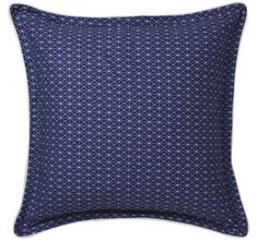 cottonSateenPrintedFacetted inspired shapes on frontWhite cord piping trimDeep navy reverse