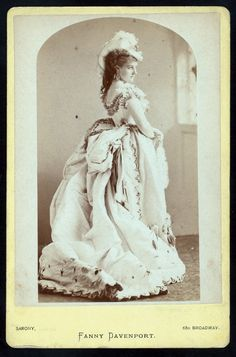Fanny Davenport about 1875 - this was the very beginning of the bustle...not the same as the more tailored bump off the back. This time period had a fullness around the whole waist.