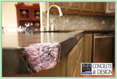 Concrete kitchen counter with amethyst geode inlay by Infistone Concrete & Design Concrete Kitchen, Concrete Countertops, Kitchen Countertops, Gemstone Countertops, Granite, Concrete Design, Kolkata, Cool Stuff, Beautiful