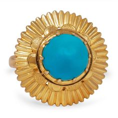 The July Ring from Brilliant Earth circa 1930's This Retro-era ring is a masterpiece in celestial design, boasting a round bullet shaped turquoise cabochon lofted within a regal yellow gold setting with intricate and one-of-a-kind details.