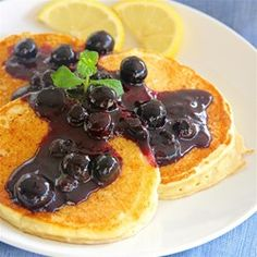 Lemon Ricotta Pancakes with Blueberry Sauce - Allrecipes.com Great as is or put blueberries in them! Light, delicious!