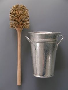 """""""A toilet brush has never looked so good. You can replace your eyesore plastic version with this wooden brush paired with a galvanized bucket""""  why can't i find anything like this here in the states?  http://www.labourandwait.co.uk/frameset-products.htm"""