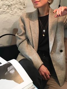 Blazer, crew neck jumper, necklaces