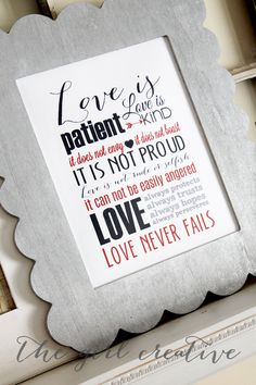 Put on your walls this so 1 Corinthians 'Love Subway Art Printable' to remind you everyday to think in love!