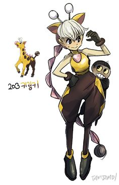 Pokemon Gijinka   203.  Girafarig