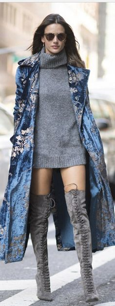 Who made Alessandra Ambrosio s blue velvet coat cfd1d1f20